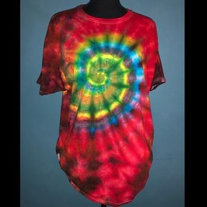 Sprial Ice Tie-Dye Tee - LARGE - RED